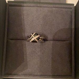 David Yurman Cable Wrap Black Onyx Diamond Ring